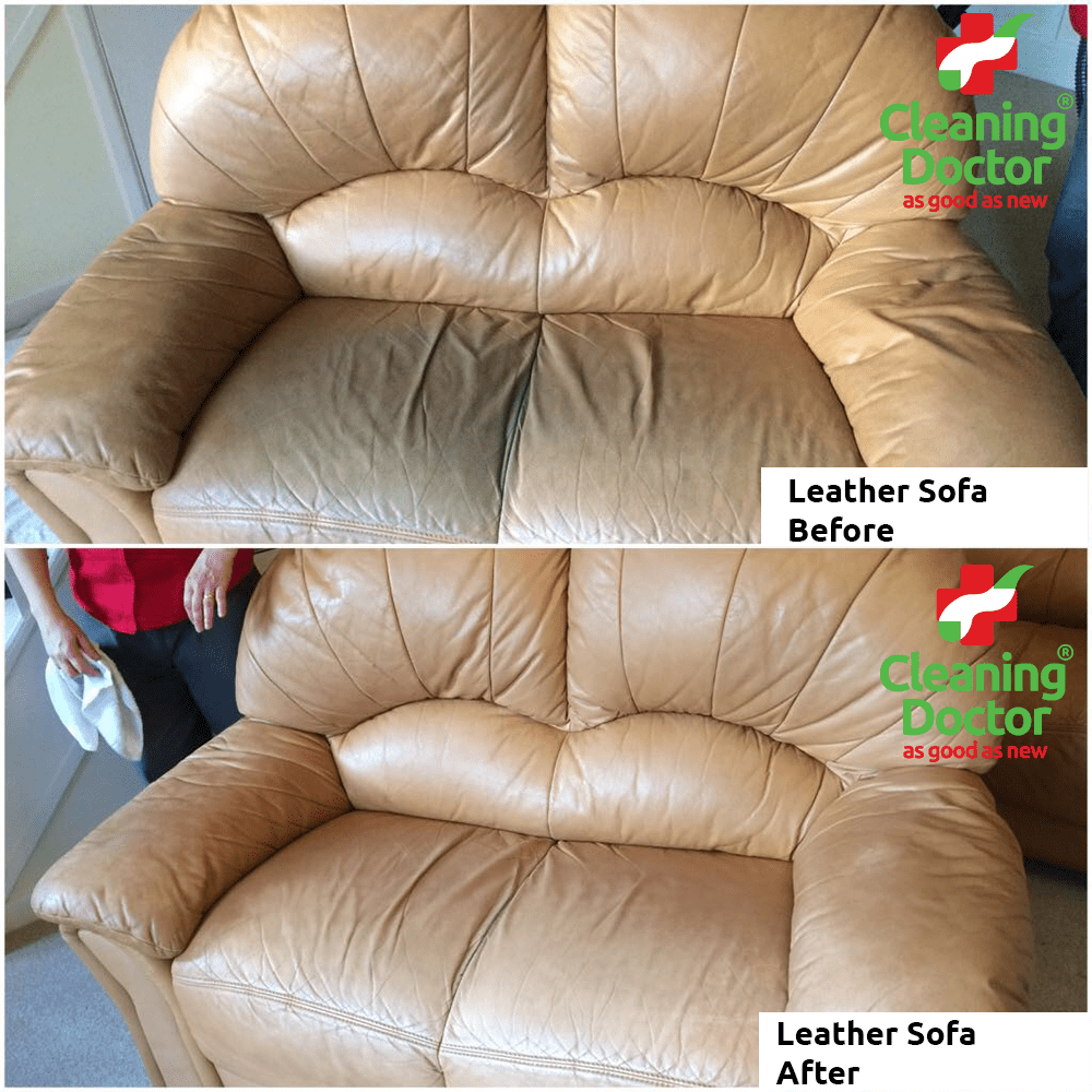 Leather Sofa Before + After Cleaning