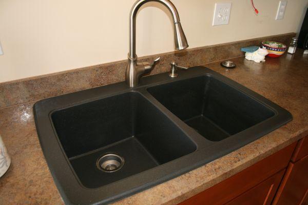 black granite composite sink carefully