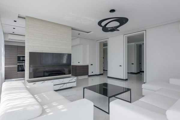 interior of contemporary apartment with furniture