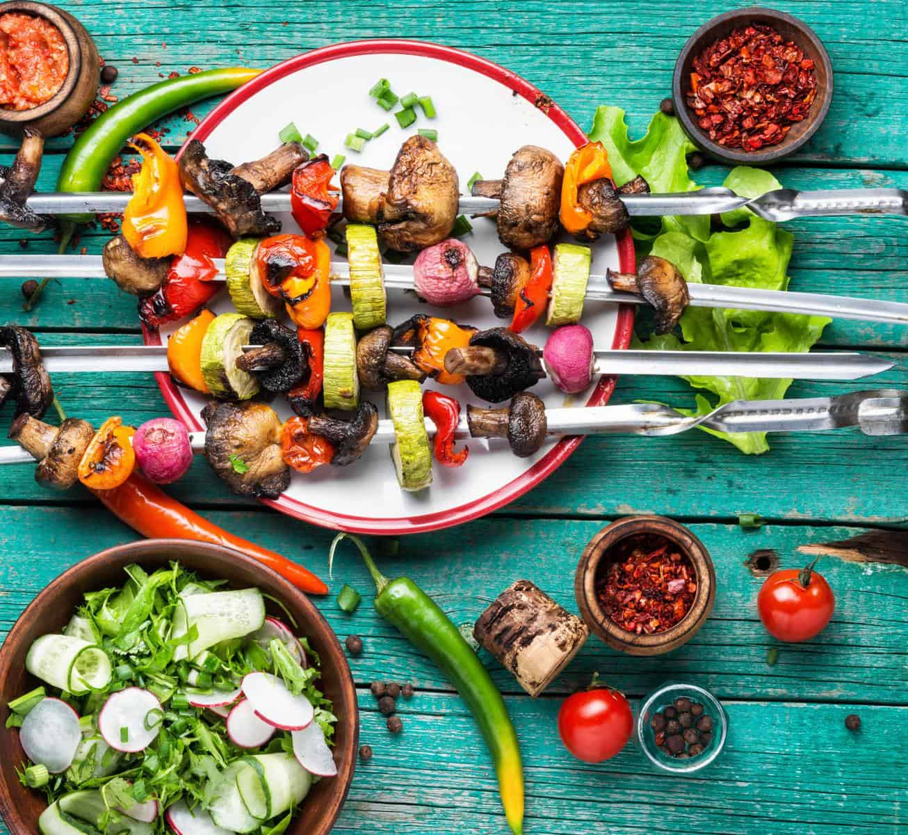 Grilled vegetables skewers kebab