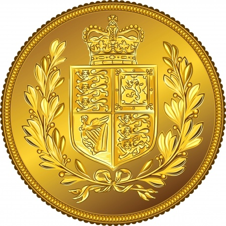 13880937 - british money gold coin sovereign with the image of a heraldic shield and crown, isolated on white background