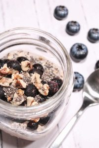 Blueberry Chia Overnight Oats in mason jar
