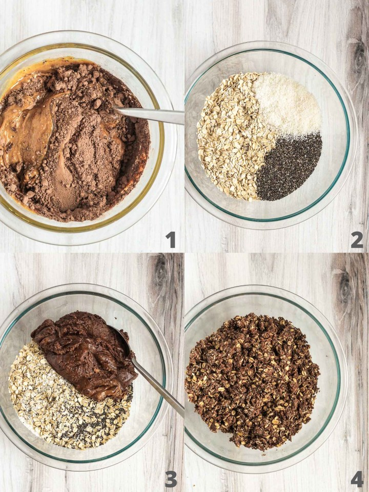 step by step quadrants on making chocolate peanut butter balls
