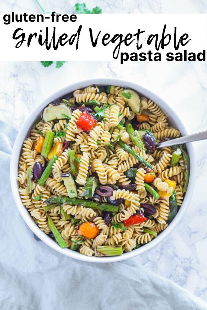 pinterest pin for grilled vegetable pasta salad