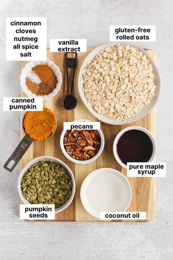 image of all labeled ingredients that are used to make pumpkin granola