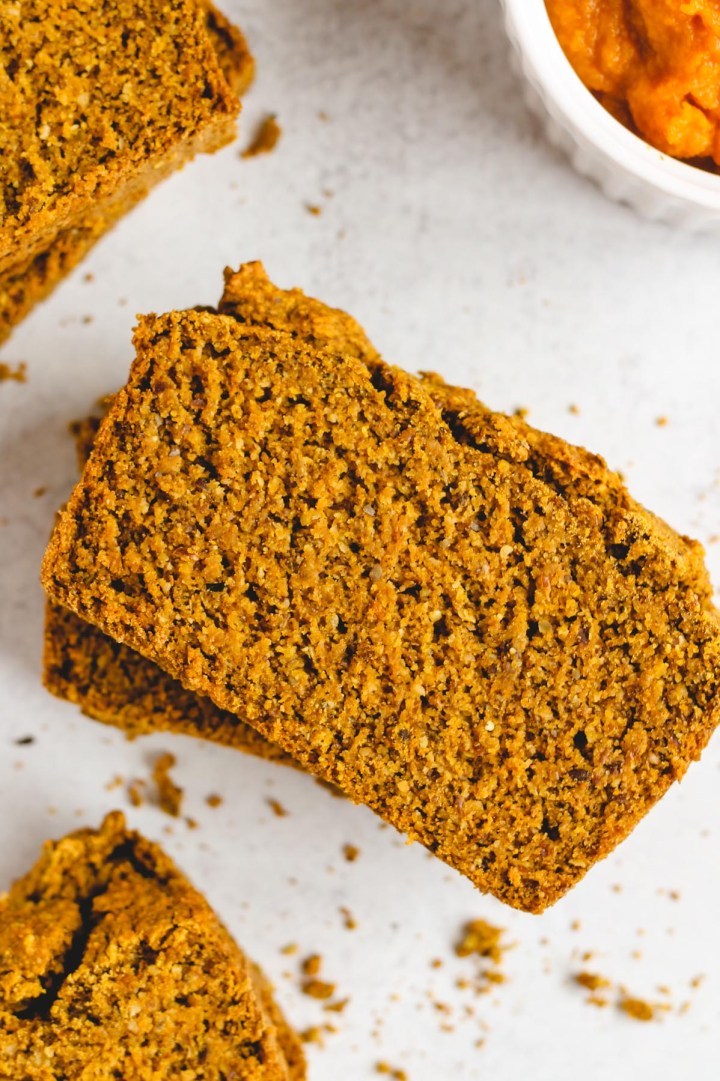 close up view of sliced pumpkin bread