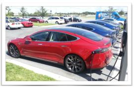 Tesla Model S electric sedans charging 1