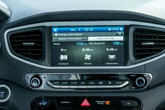 2017 Hyundai Ioniq EV info screen
