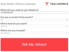 Tesla Model 3 delivery planner
