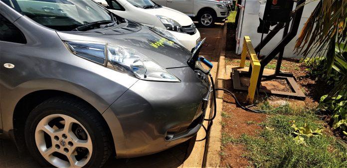 Image caption: One of Nopia's Nissan Leafs charging at the Hub Mall, Karen, Nairobi: Photo by Remeredzai Kuhudzai