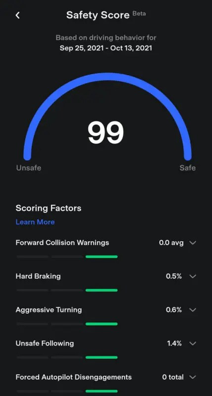 Tesla Safety Score Screen cap