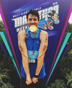 "Adam Harrison is a Creative & Marketing Specialist who recently completed his first Marathon in 3:43:35 - a true inspiration for any athlete! He was cheered on by his family, and proudly ran with the names of his late grandparents, ""Sammy & Esther"" on his arms. ""My late grandparents wouldn't have missed today for anything."""