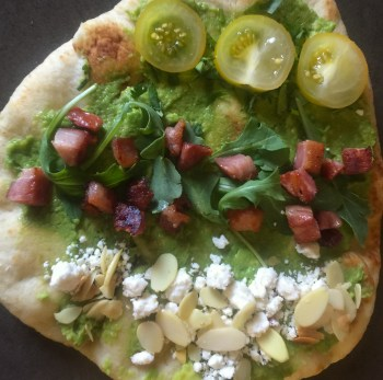 Get creative with your pizza! Try cilantro and sliced tomato; pancetta and arugula; and feta cheese and toasted almonds.