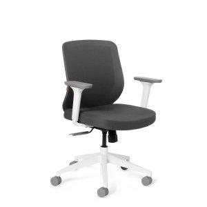 Poppin Max Task Chair Mid Back, White Frame, Dark Gray