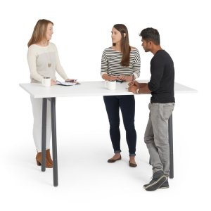 Poppin Series A Standing Table, White with Charcoal Legs, 72X36