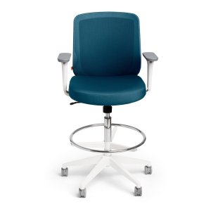 Poppin Slate Blue Max Drafting Chair, Mid Back, White Frame