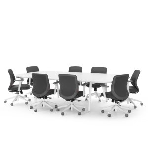 Poppin Series A Scale Racetrack Conference Table, White, 114″W X 60″, White Legs
