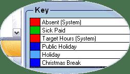 Focus calendar key closeup