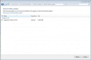 Windows 7 Update Pushes Windows 10 Restore Hidden Update