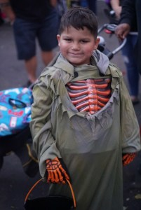 Child with Skeleton Costume on