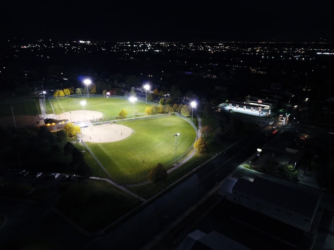 softball fields at night