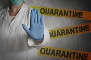 Health worker gesturing stop sign in quarantine | Sports Odor Eliminator Spray - Clear Gear