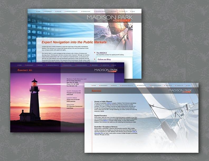 image of website design for Madison Park Advisors