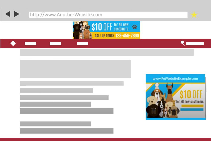 website page showing digital banner ads