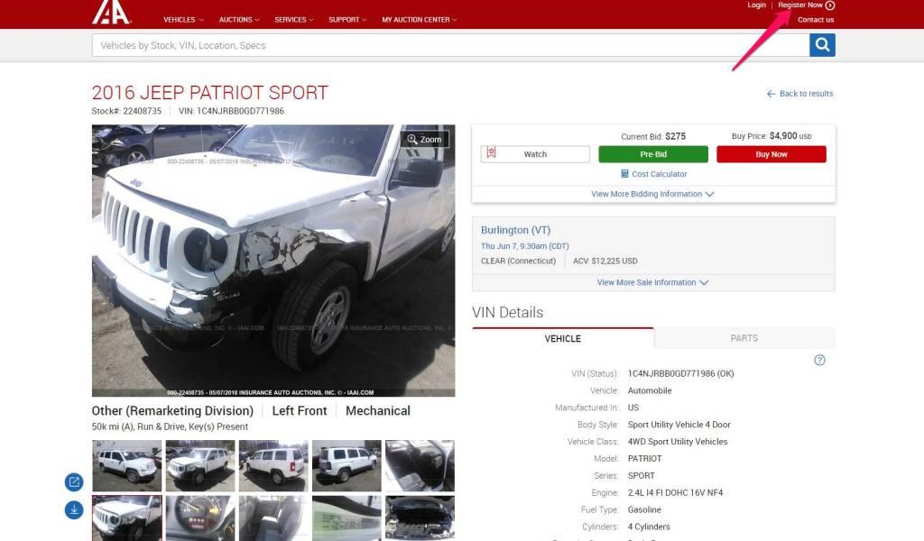 Register on Car auction Site