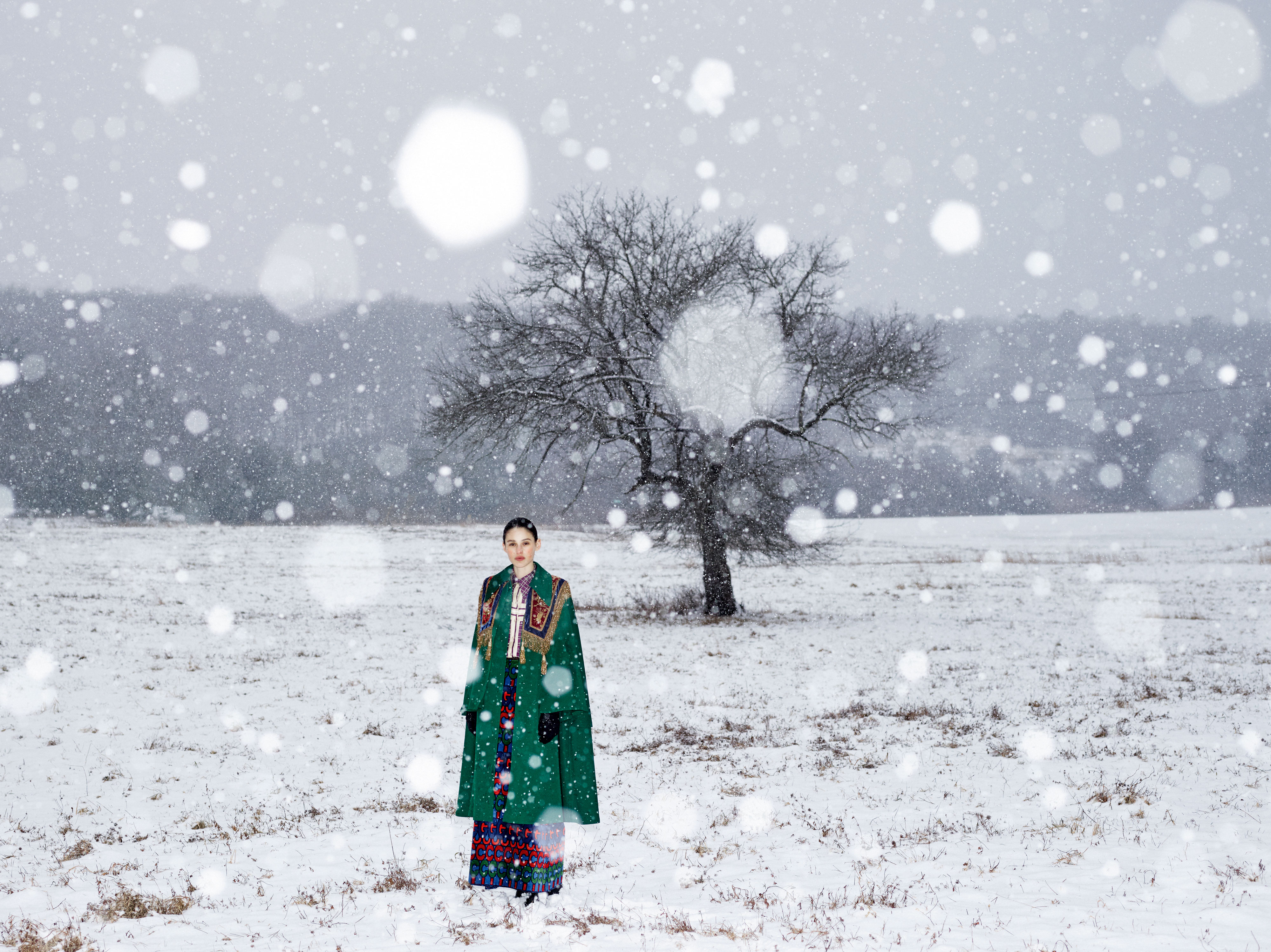 Winter snow photoshoot for Gucci