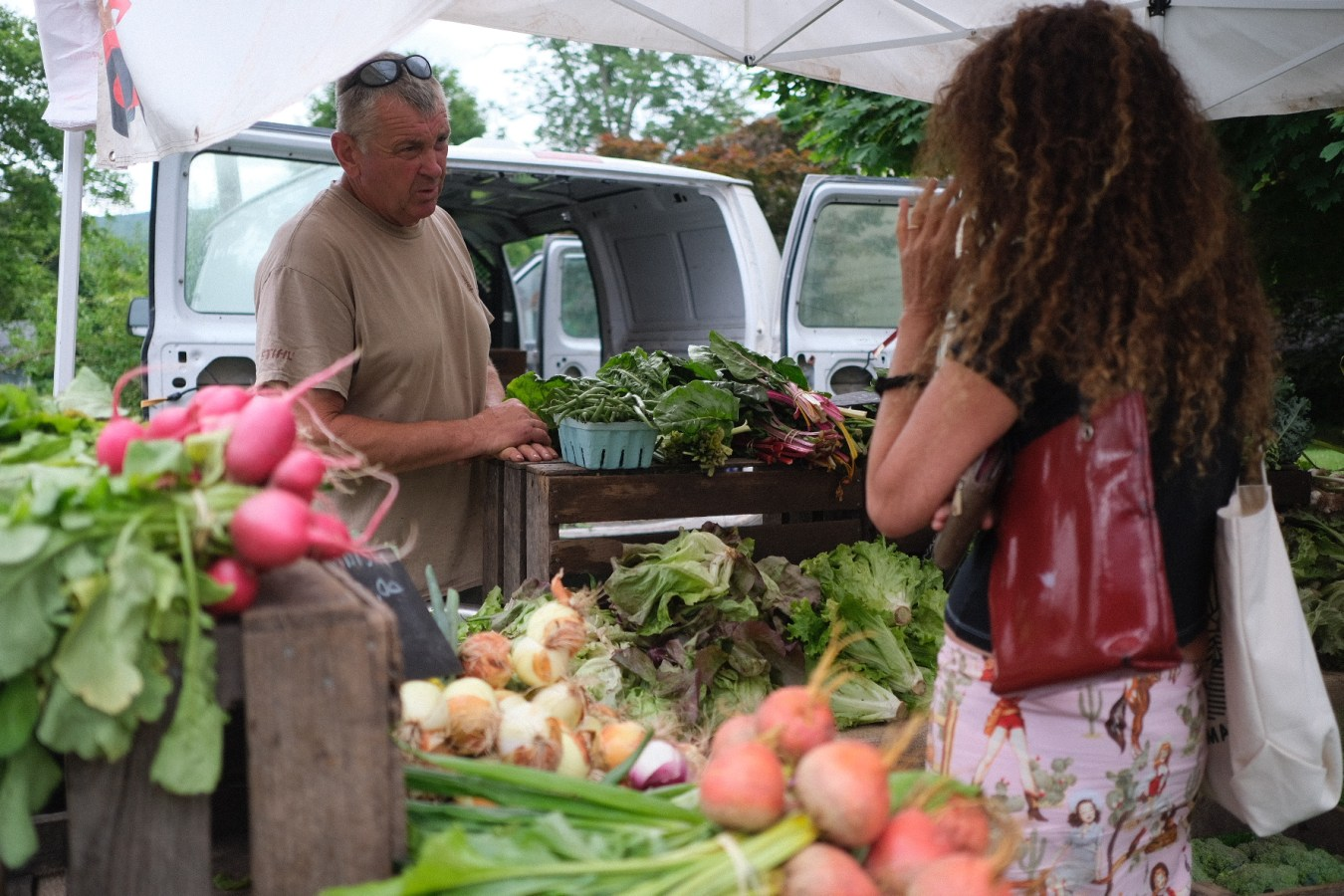 A woman buys fresh vegetables at the farmers market