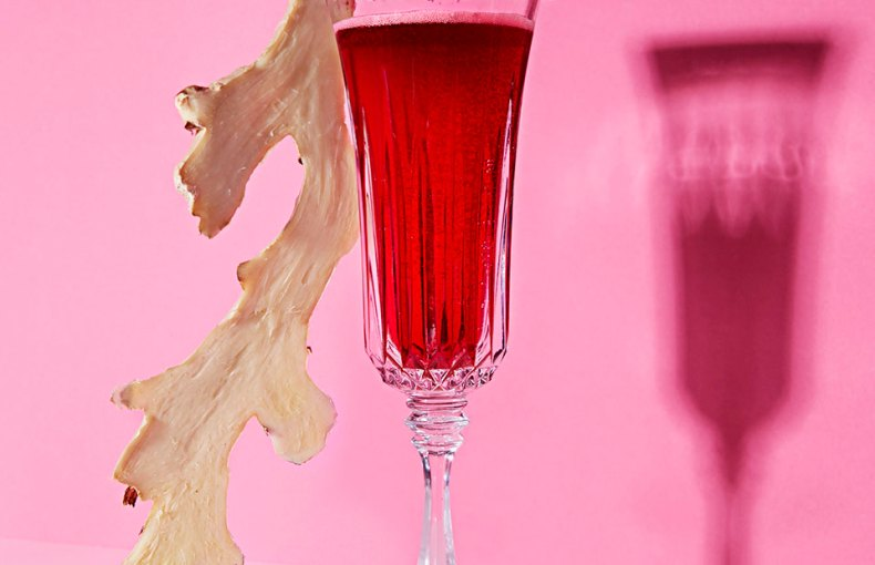 glass with hibiscus and salt rim