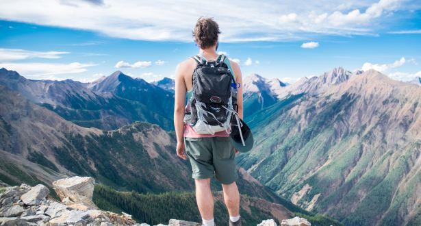 guy overlooking mountains