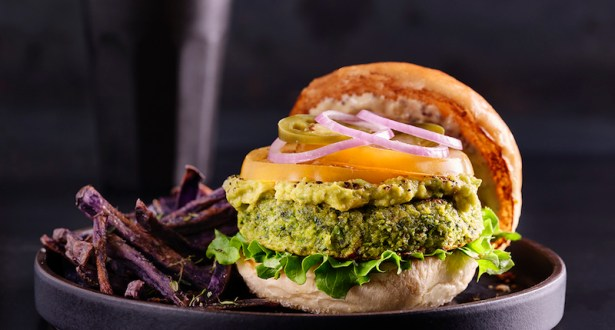Avocado, Spinach, Almond Veggie Burger