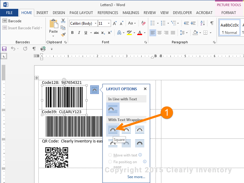 Barcode layout options