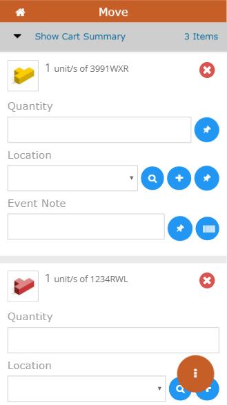 Mobile move item screen