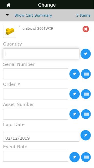 Mobile change item screen