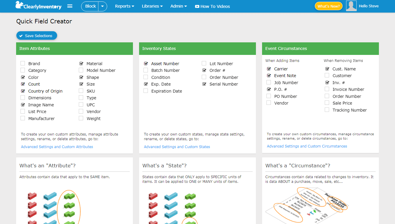 Quick field creator screen