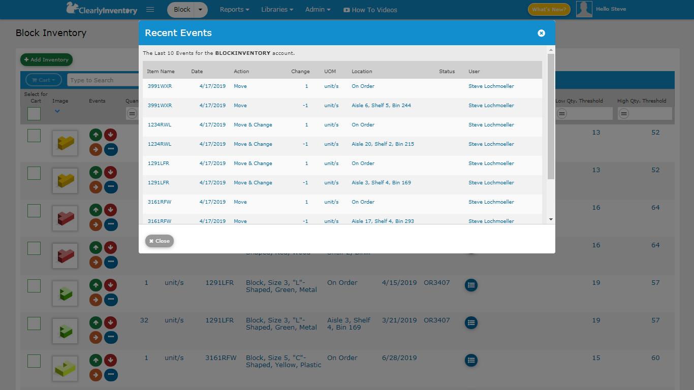 Recent events screen