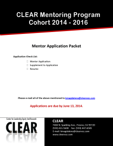 Mentor Application Cover