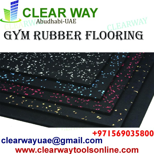 GYM RUBBER FLOORING TILES AND ROLL IN MUSSAFAH , ABUDHABI , UAE