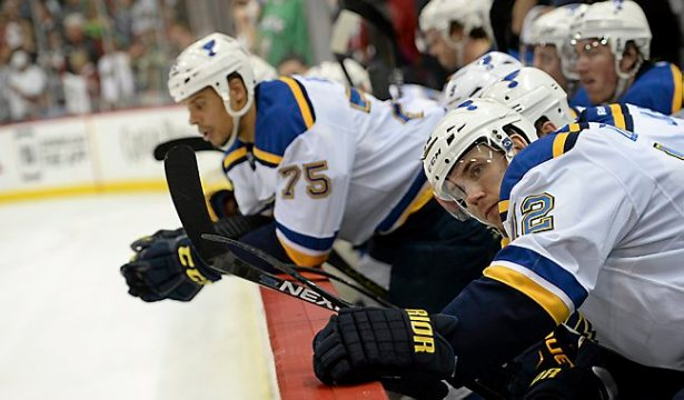 St. Louis center Jori Lehtera looks on from the bench as the final seconds of the game tick away in the Wild's 4-1 victory at Xcel Energy Center in St. Paul on Sunday, April 26, 2015.  (Pioneer Press: John Autey)