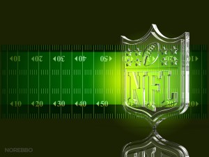 Glass NFL Logo Over a Dark Football Field