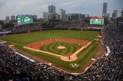 Jun 11, 2015; Chicago, IL, USA; A general view of Wrigley Field and the newly renovated bleachers during the second inning of a game between the Chicago Cubs and the Cincinnati Reds at Wrigley Field. Mandatory Credit: David Banks-USA TODAY Sports