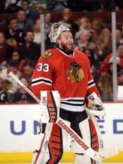 Feb 24, 2015; Chicago, IL, USA; Chicago Blackhawks goalie Scott Darling (33) at the United Center. The Chicago Blackhawks defeated the Florida Panthers 3-2 in a shootout. Mandatory Credit: David Banks-USA TODAY Sports