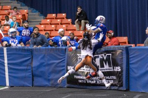 Chicago, IL, USA, April 9, 2016: Champions Indoor Football (CIF) action between the Omaha Beef and the Chicago Eagles at the UIC Pavilion. Photographer: Daniel Bartel