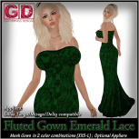 GD Fluted Gown Emerald Lace
