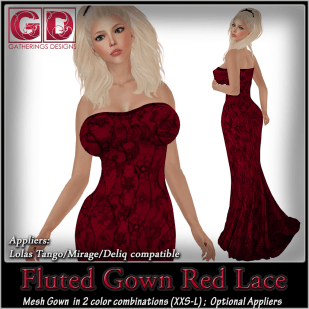 GD Fluted Gown Red Lace