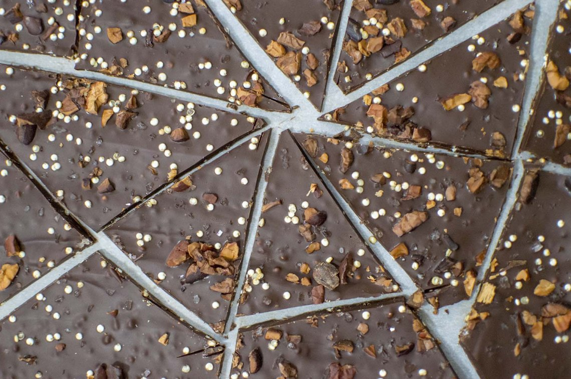Quinoa Chocolate Bark cut up and ready to eat