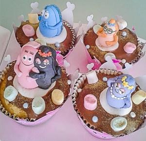 cupcakes décorés avec personnages barbapapa